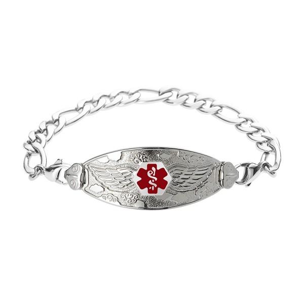 Divoti Custom Engraved Angel Wing Medical Alert Bracelet -Figaro Stainless -Red - CK17YHDNHSI
