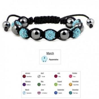 Accents Kingdom Magnetic Shamballa SimulatedAquamarine in Women's Strand Bracelets