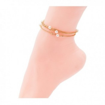 Sundear Golden Leaves Layered Anklet Imitate Pearl Barefoot Sandals Jewelry for Women - Gold-1 - CQ184HT9GGR