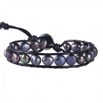 KELITCH Blue Simulation-Freshwater-Pearls Single Wrap Bracelet on Black Leather - C112FTM2P4T