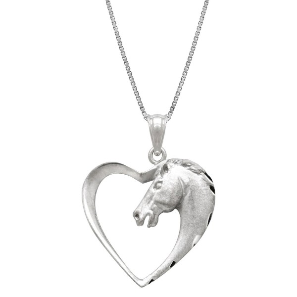 "Sterling Silver Horse in Heart Necklace Pendant with 18"" Box Chain - CH119CN9G2B"