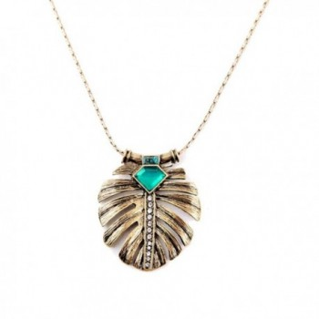 Feather Shaped Pendant Necklace Vintage in Women's Choker Necklaces