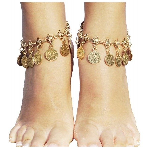 Hot Boho Silver Coin Anklet Bracelet Bohemian Tassel Barefoot Sandals Chain Jewelry - Gold - C917XWRIH4K