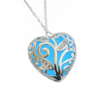 Forest Heart Glowing Necklace Silver Plated Jewelry-Glow Color:Royal Blue 18 Inches - Blue - CF127UKX7OF