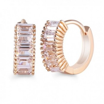 GULICX Yellow Gold PLlated Base White Crstal Princess Wedding Sparkle Hoop Earring Christmas Gift - CC11A0P4C0F