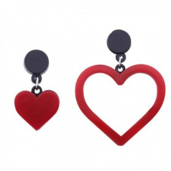 TEMEGO Womens Stainless Steel Acrylic Earrings- Classic Asymmetric Heart Love Symbol Studs Earrings - Red - CX187Y4D4GQ