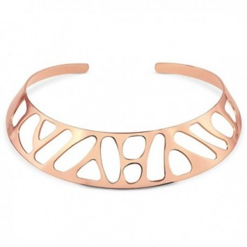 BERRICLE Rose Gold Plated Base Metal Fashion Choker Necklace - CX12BQYBZL3