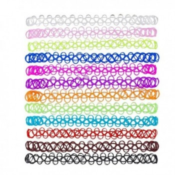Lux Accessories 12PC Tattoo Elastic Choker Necklace Set Multi Colored Rainbow Gothic Henna - C612O7ZCY9O