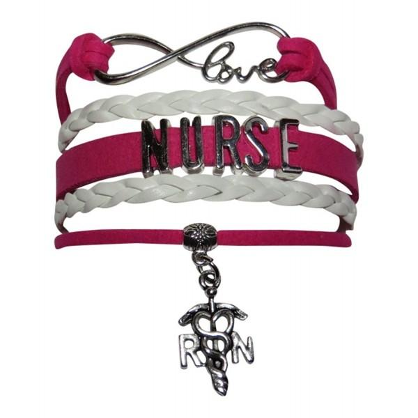 Nurse Pink/White Suede Leather Like Multi Strand Bracelet Nursing - CS129VVK771