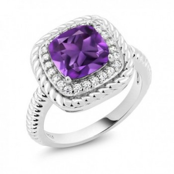 2.05 Ct Cushion Cut Purple Amethyst 925 Sterling Silver Engagement Ring (Available in size 5- 6- 7- 8- 9) - CV182AO782X