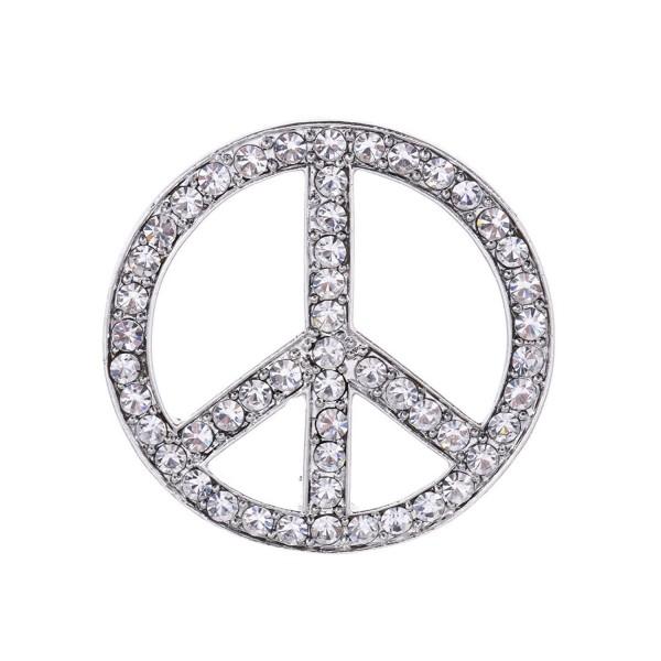 f26236a27 Alilang Purple Blue Clear Crystal Rhinestone Hippie Peace Sign Brooch Pin -  Silver - CC113AH6DPR