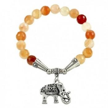 Falari Elephant Lucky Charm Natural Stone Bracelet Apricot Agate B2448-AP - C8124HGLV9D