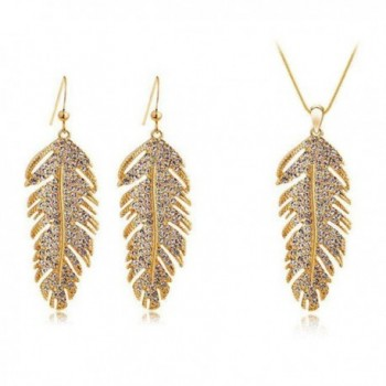 "Dlakela ""The Wing of Love"" Crystal Pave Alloy Feather Pendant Necklace Earrings Set - Golden - CY11NJEL8X9"