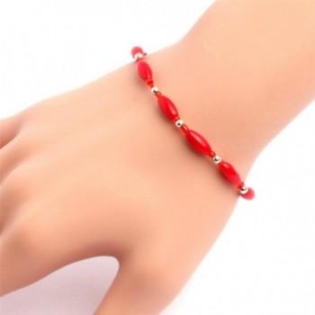 GEM-inside Bracelets Column Hematite Jade Agate Glass Beads Adjustable Handmade 7.5 Inches - Red Coral 02 - CW129A3AD0J