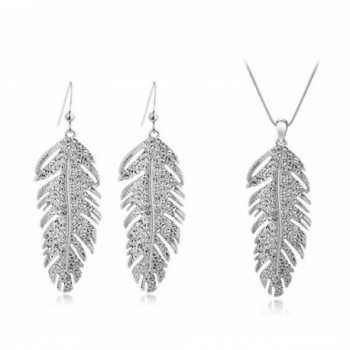 Dlakela Crystal Feather Necklace Earrings