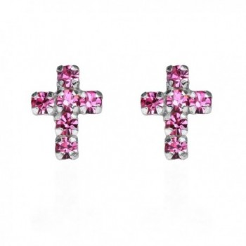 Cute Petite Cross Pink Cubic Zirconia .925 Sterling Silver Stud Earrings - C811TXTGJWT