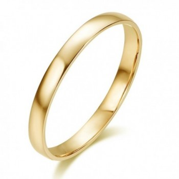 Hafeez Center 10K Solid Gold 2mm Light Comfort Fit Classic Plain Wedding Band - yellow-gold - CW188MQN6I6