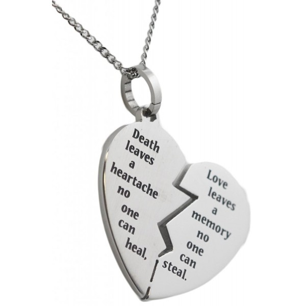 Broken Heart Bereavement Necklace Stainless Steel Pendant Condolence Gifts - CH11TSZNV1F