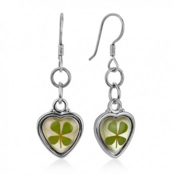 """925 Sterling Silver Real Four (4) Leaf Clover Symbol of Good Luck Heart Dangle Hook Earrings 1.2"""" - CZ12I6MRA9D"""