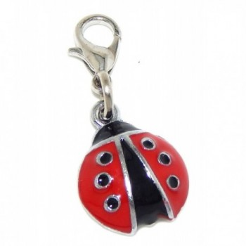 "Jewelry Monster Clip-on ""Black and Red Ladybug"" Charm Bead - CR11TJD1NGL"