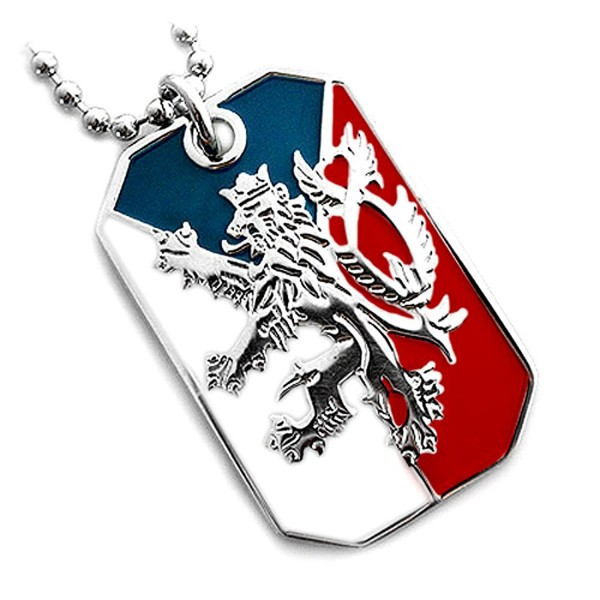 CZECH REPUBLIC FLAG BOHEMIAN LION COAT ARMS PENDANT DOG TAG NECKLACE NICKEL FREE - CT117097T3R