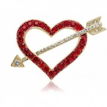 Akianna Gold-tone Swarovski Element Crystals Valentine Heart and Arrow Pin Brooch - Red - C0120A9WXW9