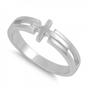 Sterling Silver Women's Sideways Cross Love Ring Polished Band 7mm Sizes 5-11 - C511YOSZUWT