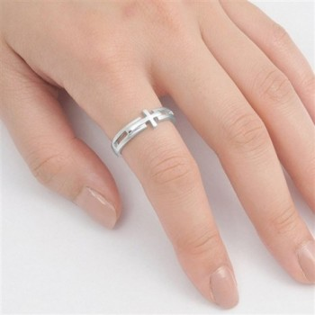 Sterling Silver Womens Sideways Polished
