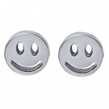Eye Catching Stainless Steel Smiley Face Stud Earrings - C3125SIKELF