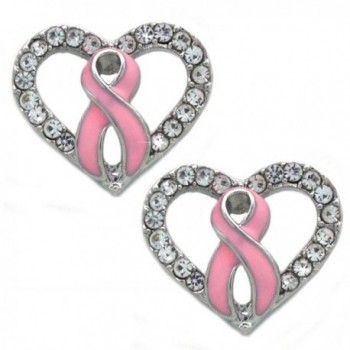Support Breast Cancer Awareness Pink Ribbon Boxing Glove Heart Earrings - CQ189O2NY7C