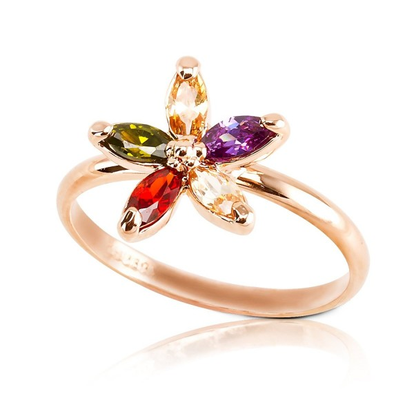 FAIRY COUPLE Mother's Day Gifts Bling Accent Flower Ring Plated with Alloy R317 - CY11DPA8I5H