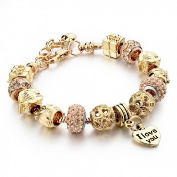 Long Way Gold Plated Snake Chain Beads Charm Bracelet for Women - C512CWBGYHJ