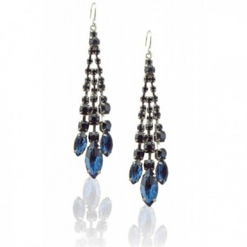 Zoe & Ella Rhinestone Crystal Silver Plated Triple Row Chandelier Earrings - Montana Blue - CL12IS5O55V