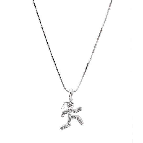 Silver Plated Crystal Man and Woman Runner Figure Necklace - CD11MORW3A3