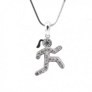 Spinningdaisy Crystal Runner Figure Necklace