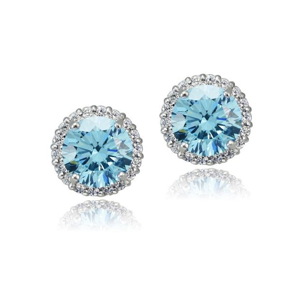 Platinum Flashed Silver Zirconia Earrings - bermuda-blue - CH12DUCFGTB
