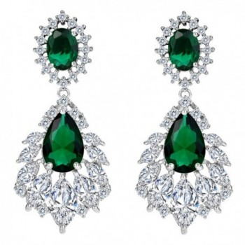 BriLove Zirconia Chandelier Earrings Silver Tone - Emerald Color Silver-Tone - CR1850LE886