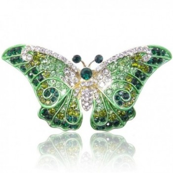 EVER FAITH Women's Austrian Crystal Cute Butterfly Insect Brooch - Green Gold-Tone - CX11IJBOQ6N