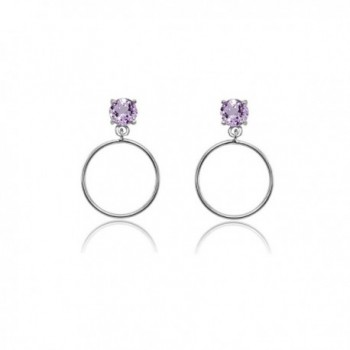 Sterling Silver 4mm Gemstone Dangling Round Hoop Stud Earrings - Amethyst - Sterling Silver - CL189KSSDRD