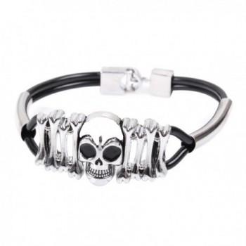 Modern Fantasy Rock Punk Skull Black Spades Heart Bone Youth Titanium Steel Black Bracelet - CO120DB8YDR