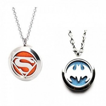 "Stainless Aromatherapy Essential Diffuser Necklace - "" Batman&superman "" - CZ18C8I9LXS"