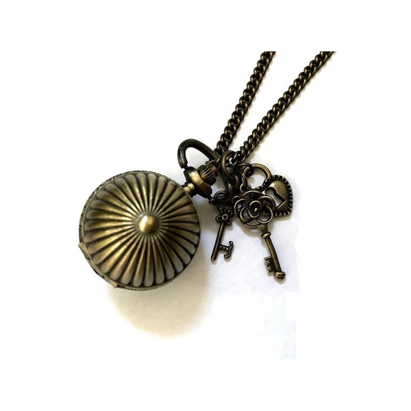 Vintage Bronze Ball Quartz Locket Watch Necklace - Boxed & Gift Wrapped - CR119BE8H67