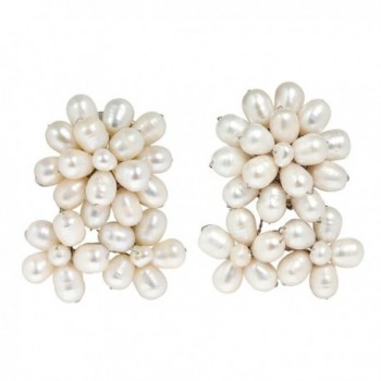 Blooming Floral Romance Cultured Freshwater White Pearl Clip On Earrings - C412NV2GQWT