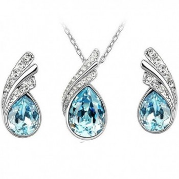 MAFMO Beautiful Platinum plated Necklace Earrings - Light blue - CJ12LM9LCGP