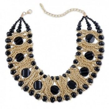 Kaymen Jewelry Gold-Plated Copper Chians and Crystal Stone Knit Statement Choker Necklaces for Women - CE120TROAGJ