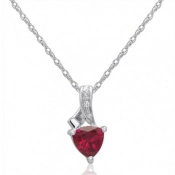Trillion Created Ruby and Diamond Pendant-Necklace in Sterling Silver - C411F927YRX