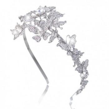 EVER FAITH Wedding Butterfly 2 Flower Headband Clear Austrian Crystal Silver-Tone - CK11JM6Y8K3
