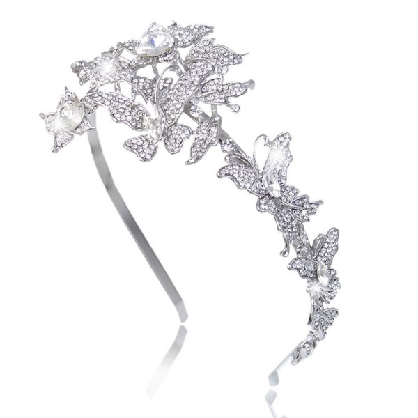 EVER FAITH Wedding Butterfly 2 Flower Headband Clear Austrian Crystal Silver-Tone - CK11JM6Y8K3