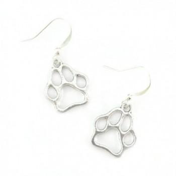 Silver Paw Print Charm Earrings - Dog Lover - C5183RWYQGA