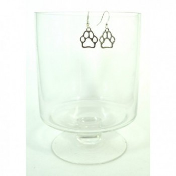 Silver Paw Print Charm Earrings in Women's Drop & Dangle Earrings
